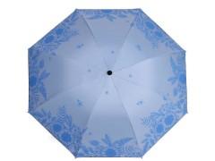 Női összecsukhatós esernyő virágmintás - Kék