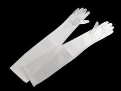 Alkalmi szatén kesztyű 60 cm - Fehér