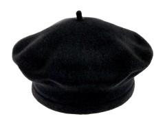 Női gyapjú barett sapka - Fekete Női kalap, sapka