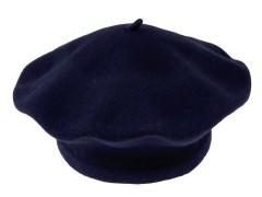 Női gyapjú barett sapka - Sötétkék Női kalap, sapka