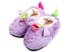 Gyermek egyszarvú otthoni cipő - Lila Gyermek zokni, mamusz