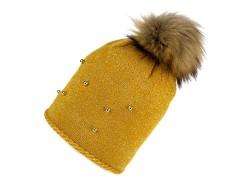 Női téli sapka bojtokkal - Mustár