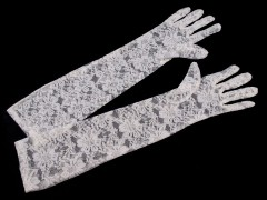 Hosszú alkalmi csipkekesztyű - Fehér