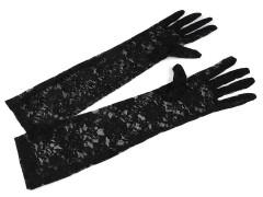 Hosszú alkalmi csipkekesztyű - Fekete