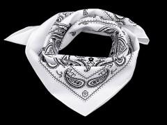 Pamut kendő - Paisley fehér mintás