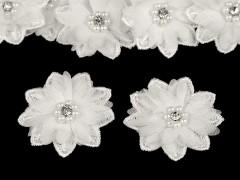 Virág gyöngyökkel 10 db/csomag - Ecru