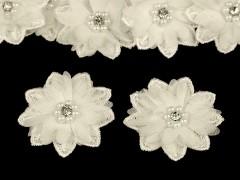 Virág gyöngyökkel 10 db/csomag - Natur