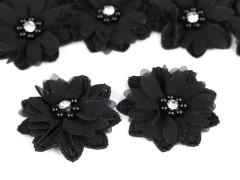 Virág gyöngyökkel 10 db/csomag - Fekete