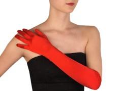 Hosszú alkalmi szatén kesztyű - Piros