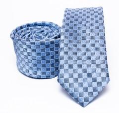 Prémium slim nyakkendő - Kék kockás Kockás nyakkendők