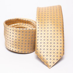 Prémium slim nyakkendő - Arany pöttyös Aprómintás nyakkendő