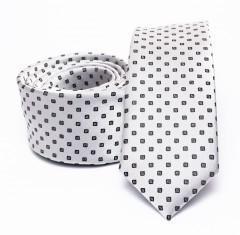 Prémium slim nyakkendő - Fehér kockás Kockás nyakkendők