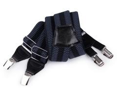 Nadrágtartó eko bőr - Kék-fekete csíkos Férfi nadrágtartó