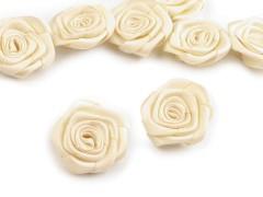 Szatén rózsa 5 db - Ecru