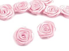 Szatén rózsa 5 db - Rózsaszín