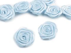 Szatén rózsa 5 db - Világoskék