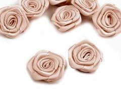 Szatén rózsa 5 db - Világosbarna