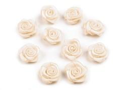 Mini textil virág 10 db/csomag - Ecru