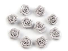 Mini textil virág 10 db/csomag - Ezüst