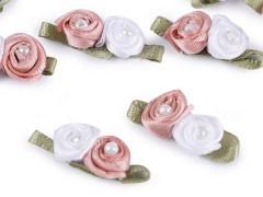 Szatén rózsa gyöngyökkel - 10 db/csomag