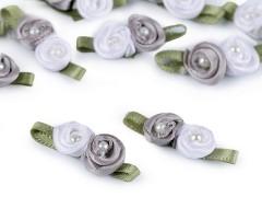 Szatén rózsa gyöngyökkel 10 db/csomag - Ezüst
