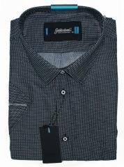 Goldenland extra rövidujjú ing - Sötétkék aprópöttyös Extra méret