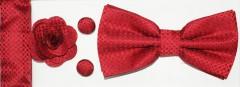 Díszdobozos csokornyakkendő szett 4 részes - Piros Szettek