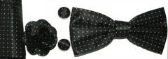 Díszdobozos csokornyakkendő szett 4 részes - Fekete pöttyös Csokornyakkendő