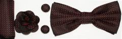 Díszdobozos csokornyakkendő szett 4 részes - Fekete-piros pöttyös Szettek