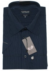 Goldenland rövidujjú slim ing - Kék csíkos Slim, Smart fazon