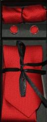 Marquis nyakkendő szett - Piros aprópöttyös Nyakkendők