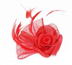 Bross virág tollal - Piros