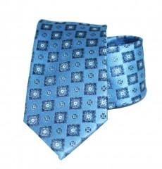 Vincitore slim selyem nyakkendő - Kék mintás Selyem nyakkendők