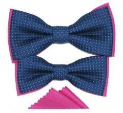 Apa-fia csokornyakkendő szett - Kék-pink Csokornyakkendő