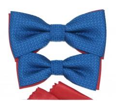 Apa-fia csokornyakkendő szett - Kék-piros Csokornyakkendő