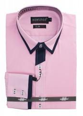 Newsmen h.u slim ing - Rózsaszín-fekete betétes Hosszúujjú ing