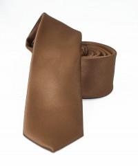 NM slim szatén nyakkendő - Barna Egyszínű nyakkendő