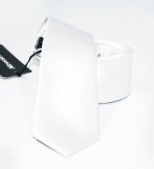 NM slim szatén nyakkendő - Fehér Egyszínű nyakkendő