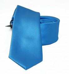 NM slim szatén nyakkendő - Azúrkék Egyszínű nyakkendő