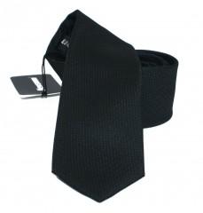 NM slim szatén nyakkendő - Fekete szövött Egyszínű nyakkendő