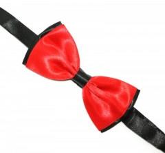 Zsorzsett szatén csokornyakkendő - Piros-fekete