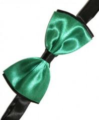 Gyerek szatén csokornyakkendő - Fekete-zöld Csokornyakkendő