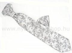 Hosszított francia nyakkendő - Ezüst-fekete mintás