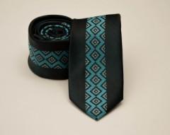 Prémium slim nyakkendő -  Fekete-tűrkíz mintás Mintás nyakkendők