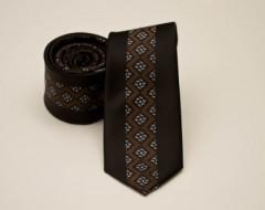 Prémium slim nyakkendő -  Barna mintás Mintás nyakkendők