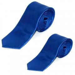 Szatén apa-fia nyakkendő szett - Királykék Apa-fia szett