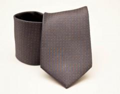 Prémium selyem nyakkendő - Szürke-narancs pöttyös