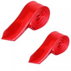 Szatén apa-fia nyakkendő szett - Piros Apa-fia szett