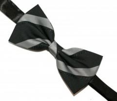 Csokornyakkendő - Fekete-szürke csíkos Mintás