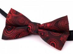 Csokornyakkendő - Fekete-piros mintás